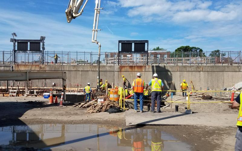 Placement of concrete for Headhouse foundation (June 8, 2018)