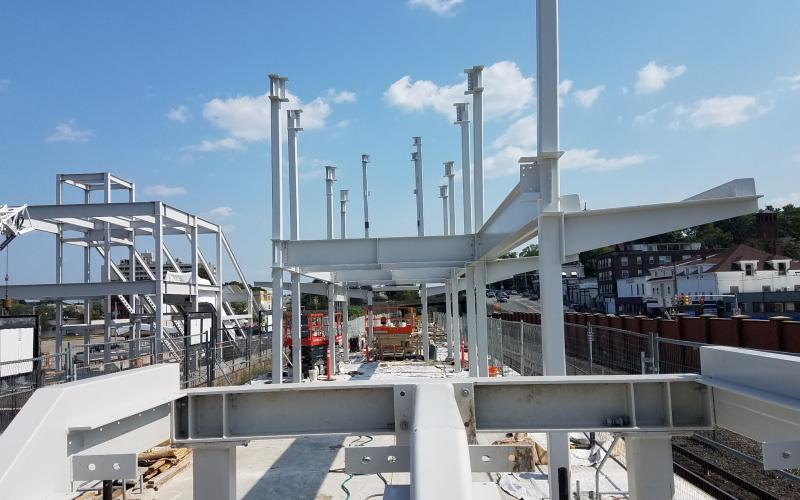 Structural steel erected during Wollaston Station construction