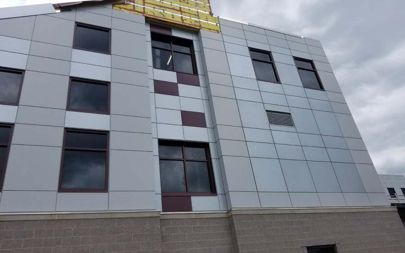 Installation of the corner metal panels (May 24, 2019)